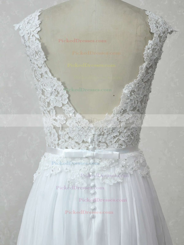 A-line Scoop Neck Floor-length Chiffon Tulle with Appliques Lace Wedding Dresses #PDS00023007