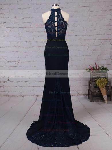 Trumpet/Mermaid High Neck Sweep Train Lace Chiffon Ruffles Bridesmaid Dresses #PDS01013462