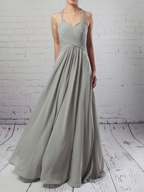 Empire V-neck Floor-length Chiffon Tulle Ruffles Bridesmaid Dresses #PDS01013463