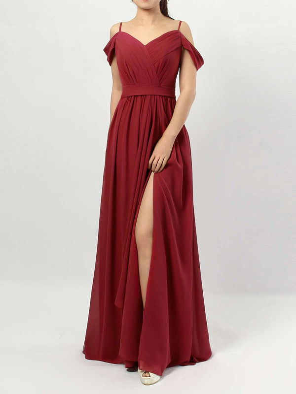 A-line V-neck Floor-length Chiffon Sashes / Ribbons Bridesmaid Dresses #PDS01013464