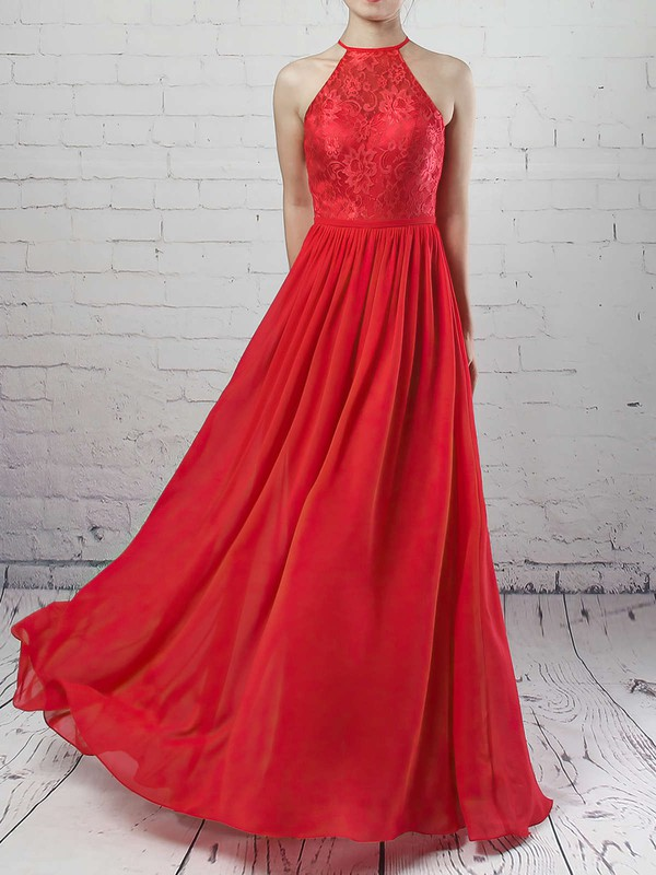 A-line Scoop Neck Floor-length Lace Chiffon Sashes / Ribbons Bridesmaid Dresses #PDS01013468