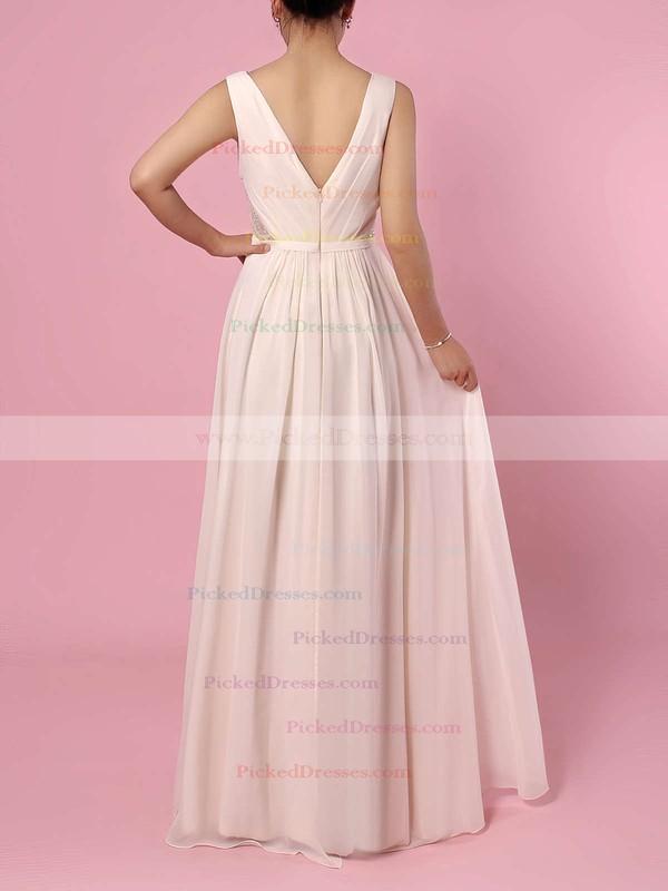 A-line V-neck Floor-length Chiffon Lace Bridesmaid Dresses #PDS01013470