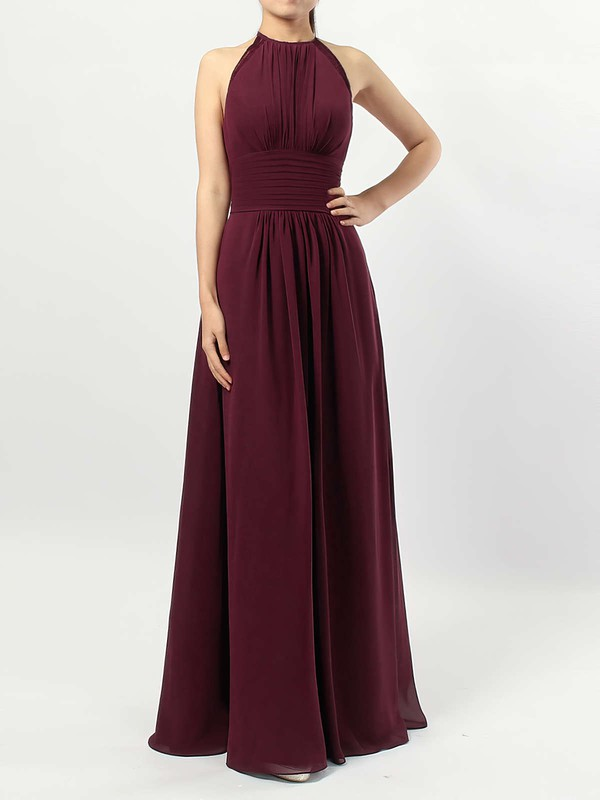 A-line Scoop Neck Floor-length Chiffon Ruffles Bridesmaid Dresses #PDS01013474