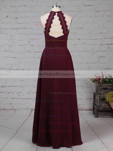 A-line Scoop Neck Floor-length Chiffon Ruffles Bridesmaid Dresses #PDS01013474