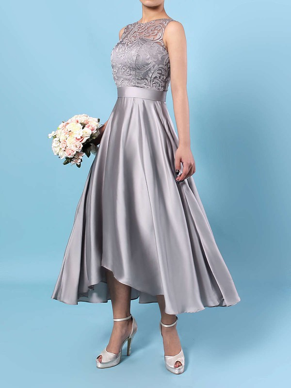 A-line Scoop Neck Asymmetrical Lace Satin Chiffon Sashes / Ribbons Bridesmaid Dresses #PDS01013476
