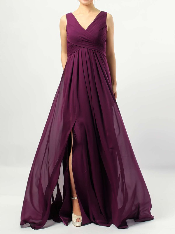 Empire V-neck Floor-length Chiffon Ruffles Bridesmaid Dresses #PDS01013477