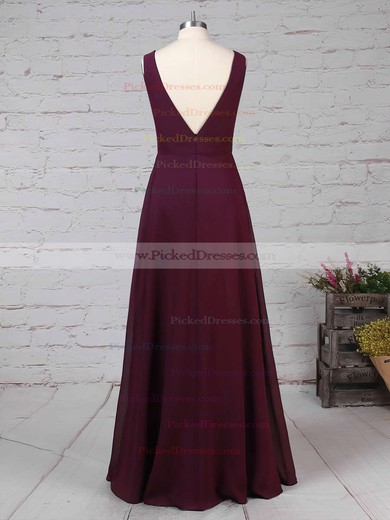 Empire V-neck Floor-length Chiffon Ruffles Bridesmaid Dresses #PDS01013477