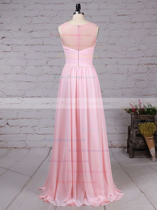A-line Scoop Neck Floor-length Lace Chiffon Ruffles Bridesmaid Dresses #PDS01013478
