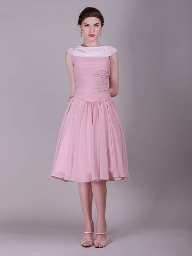 Chiffon A-line Bateau Knee-length Pleats Bridesmaid Dresses #PDS02013632