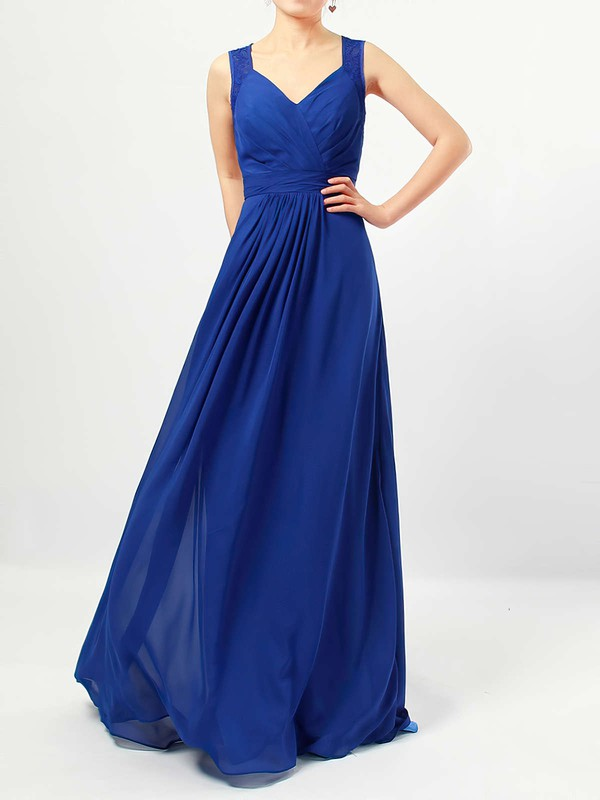 A-line V-neck Floor-length Chiffon Lace Bridesmaid Dresses #PDS01013483