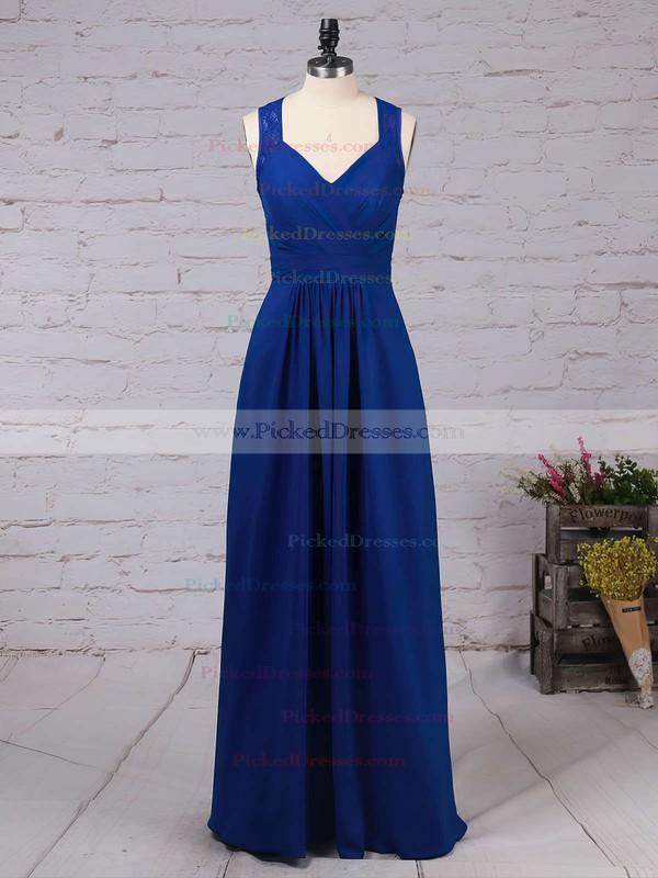 A-line V-neck Floor-length Chiffon Lace Bridesmaid Dresses #PDS01013483