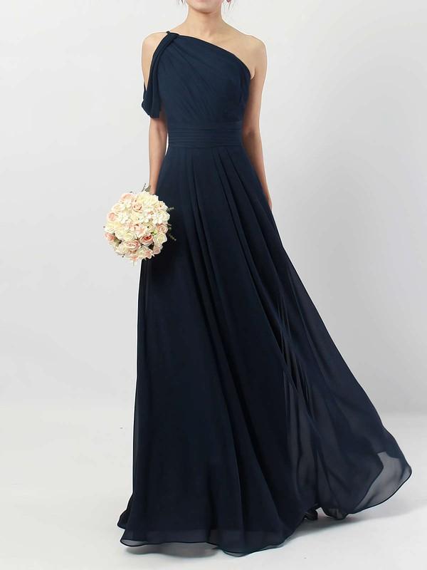 A-line One Shoulder Floor-length Chiffon Ruffles Bridesmaid Dresses #PDS01013484