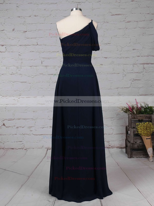 A-line One Shoulder Floor-length Chiffon Ruffles Bridesmaid Dresses #PDS01013484
