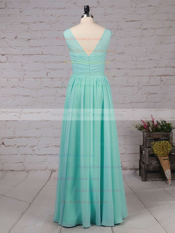 A-line Scoop Neck Floor-length Chiffon Ruffles Bridesmaid Dresses #PDS01013486