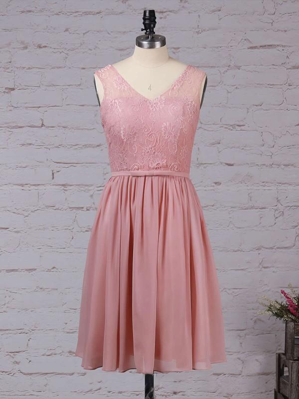 A-line V-neck Knee-length Lace Chiffon Sashes / Ribbons Bridesmaid Dresses #PDS01013497