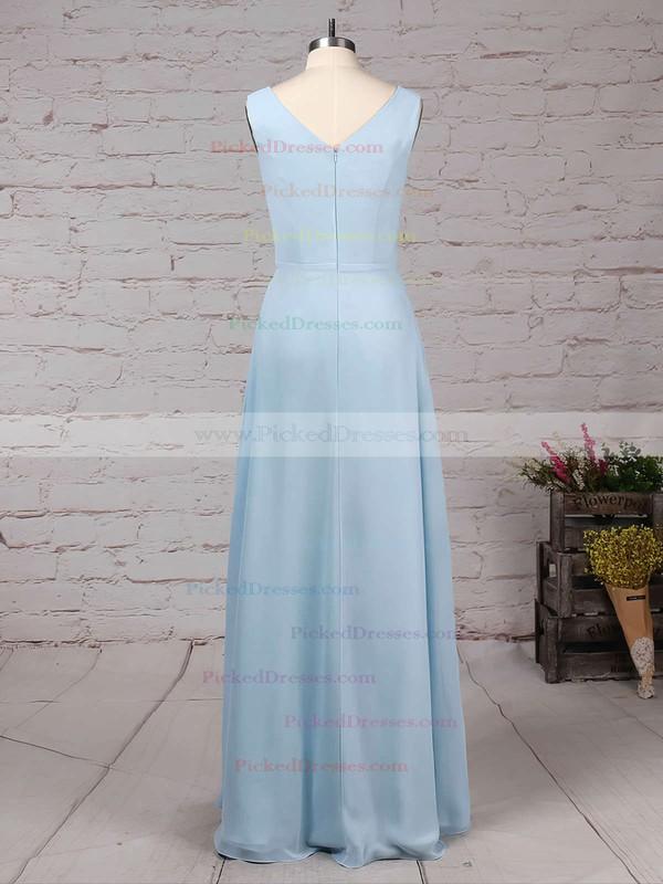 A-line V-neck Floor-length Chiffon Ruffles Bridesmaid Dresses #PDS01013499