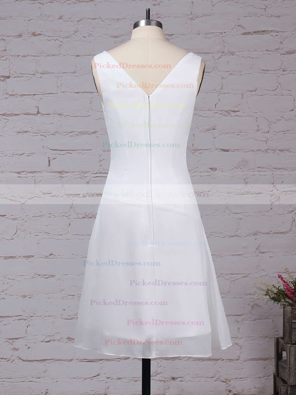 A-line V-neck Knee-length Chiffon Ruffles Bridesmaid Dresses #PDS01013500