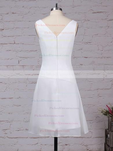 A-line V-neck Knee-length Chiffon Ruffles Bridesmaid Dresses #PDS01013500