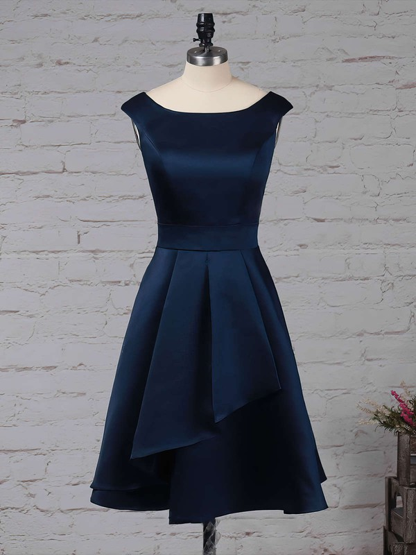 A-line Scoop Neck Knee-length Satin Chiffon Cascading Ruffles Bridesmaid Dresses #PDS01013504