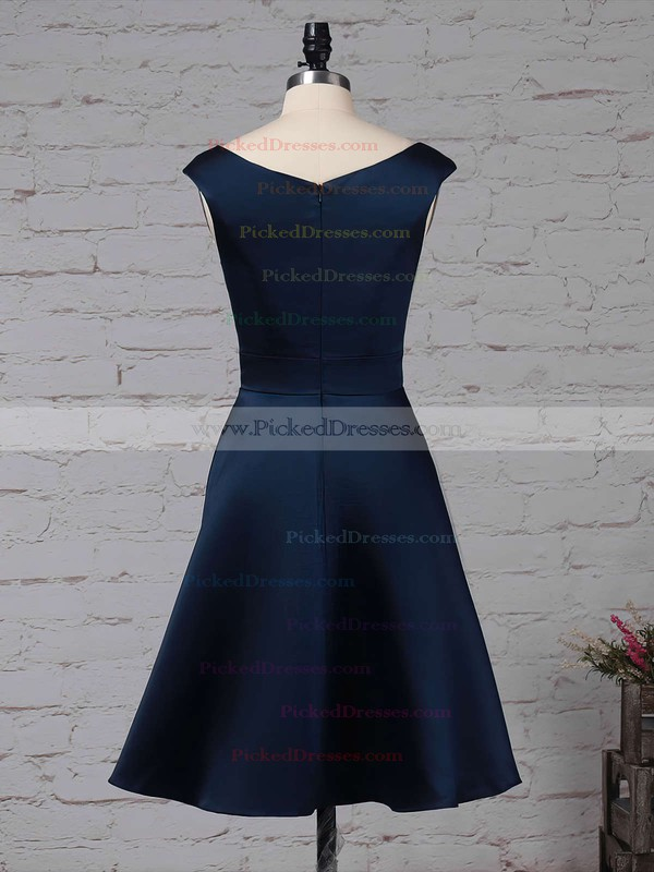 A-line Scoop Neck Knee-length Satin Chiffon Cascading Ruffles Bridesmaid Dresses #PDS01013504