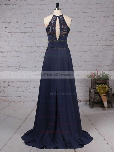 A-line Scoop Neck Sweep Train Lace Chiffon Bow Bridesmaid Dresses #PDS01013505