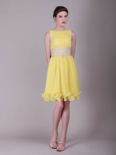 Organza Sheath/Column Bateau Short/Mini Ruffles Bridesmaid Dresses #PDS02013633