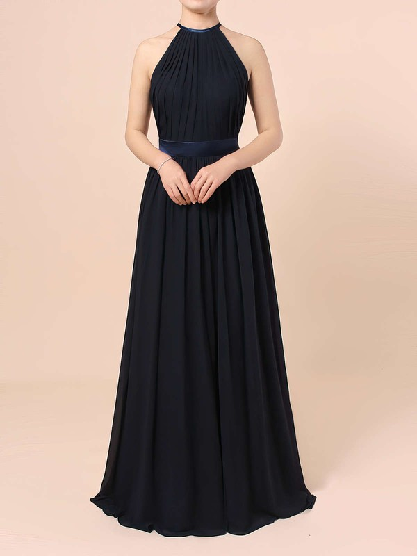 A-line Scoop Neck Floor-length Chiffon Sashes / Ribbons Bridesmaid Dresses #PDS01013506
