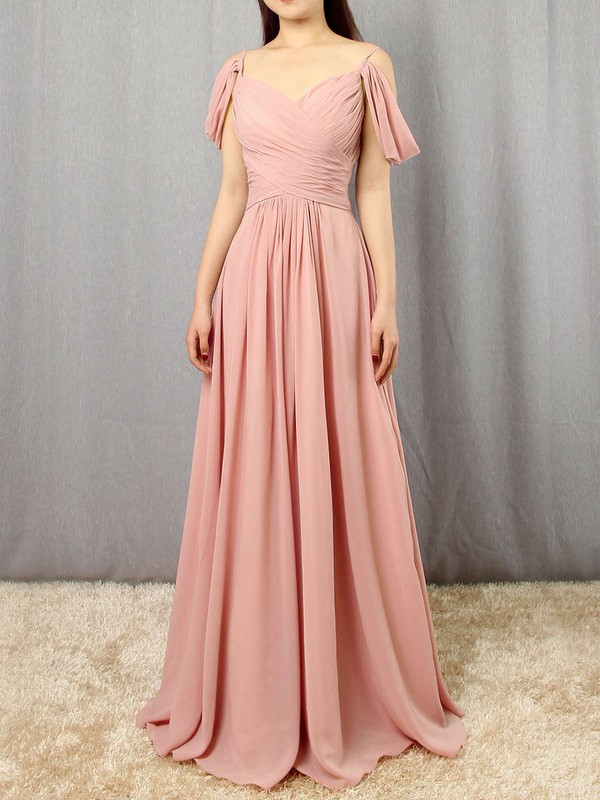 Empire V-neck Floor-length Chiffon Ruffles Bridesmaid Dresses #PDS01013507