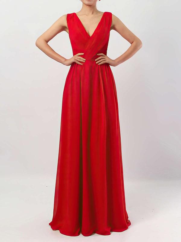 A-line V-neck Floor-length Chiffon Ruffles Bridesmaid Dresses #PDS01013511