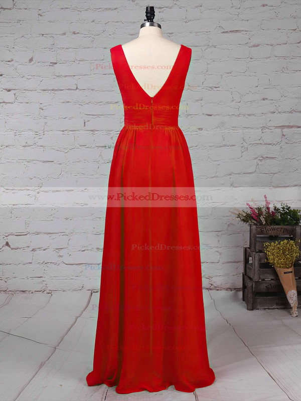 A-line V-neck Floor-length Chiffon Ruffles Bridesmaid Dresses #PDS01013511
