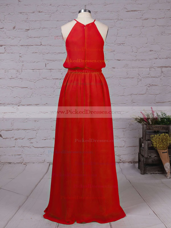 A-line Scoop Neck Floor-length Chiffon Sashes / Ribbons Bridesmaid Dresses #PDS01013512