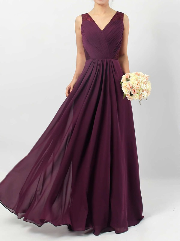A-line V-neck Floor-length Lace Chiffon Ruffles Bridesmaid Dresses #PDS01013513