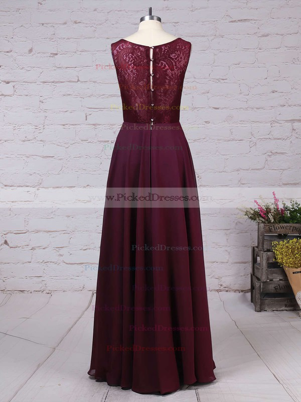 A-line V-neck Floor-length Lace Chiffon Ruffles Bridesmaid Dresses #PDS01013513