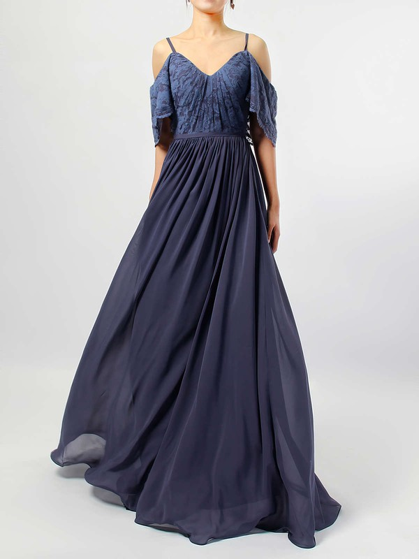 A-line V-neck Floor-length Lace Chiffon Ruffles Bridesmaid Dresses #PDS01013514