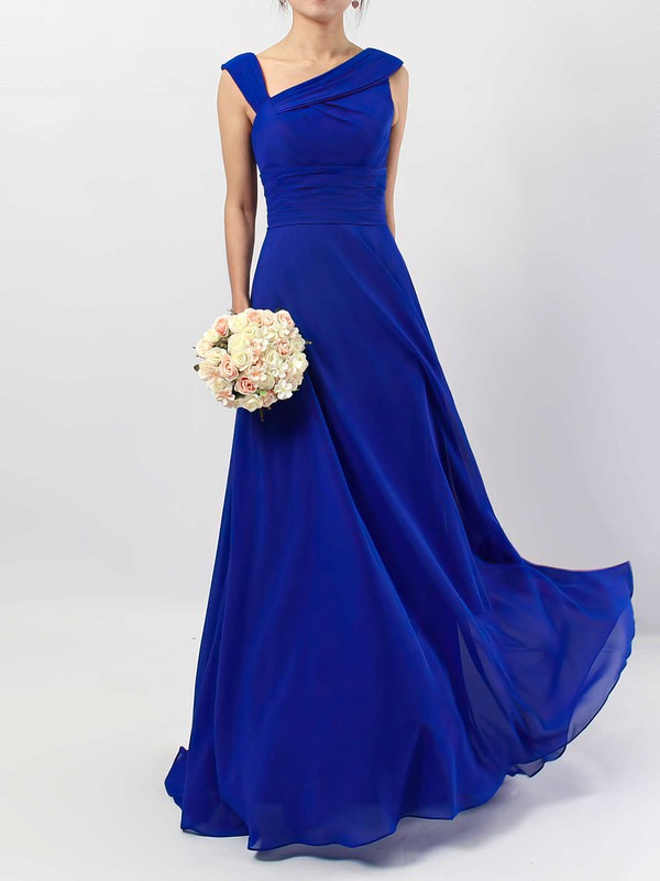 A-line V-neck Floor-length Chiffon Ruffles Bridesmaid Dresses #PDS01013522