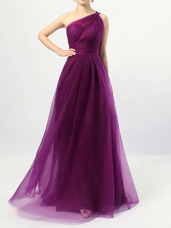 A-line One Shoulder Floor-length Tulle Ruffles Bridesmaid Dresses #PDS01013523