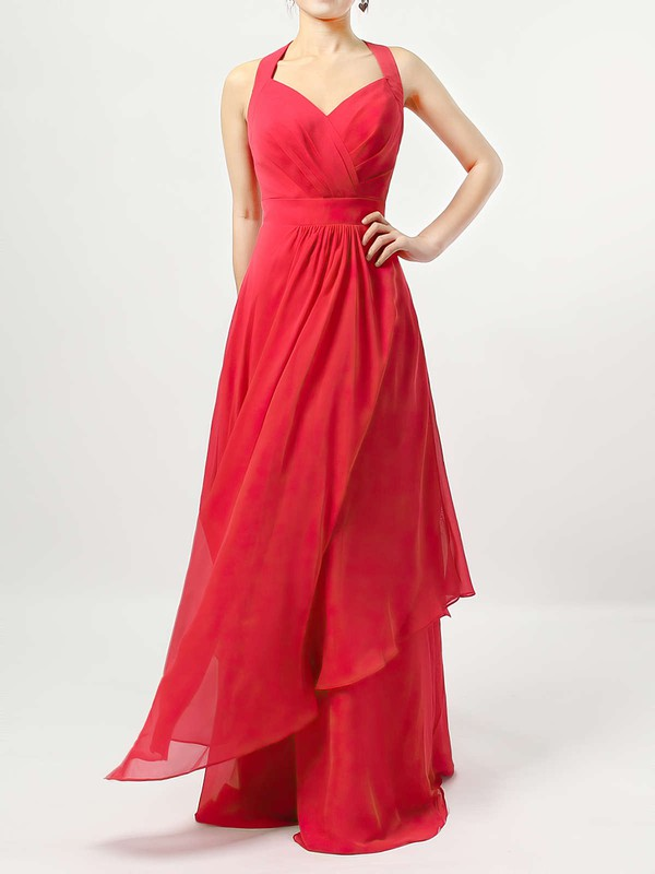 A-line V-neck Floor-length Chiffon Ruffles Bridesmaid Dresses #PDS01013526