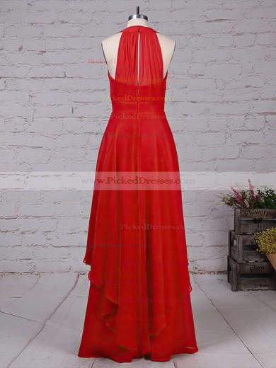 A-line V-neck Floor-length Chiffon Ruffles Bridesmaid Dresses #PDS01013526