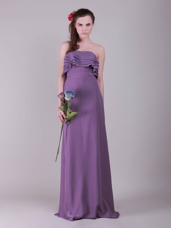 Chiffon A-line Strapless Floor-length Ruffles Bridesmaid Dresses #PDS02013635