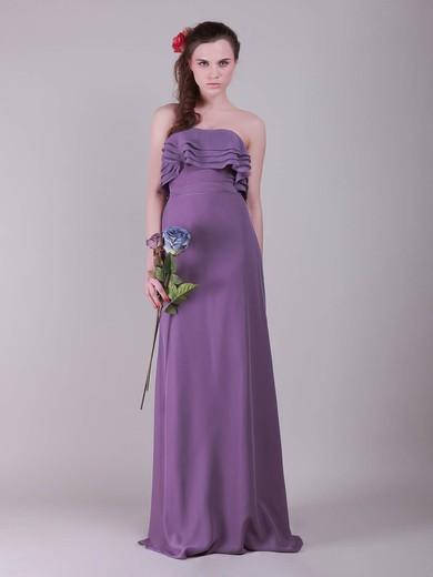 Chiffon A-line Strapless Floor-length Ruffles Bridesmaid Dresses #PDS02013635