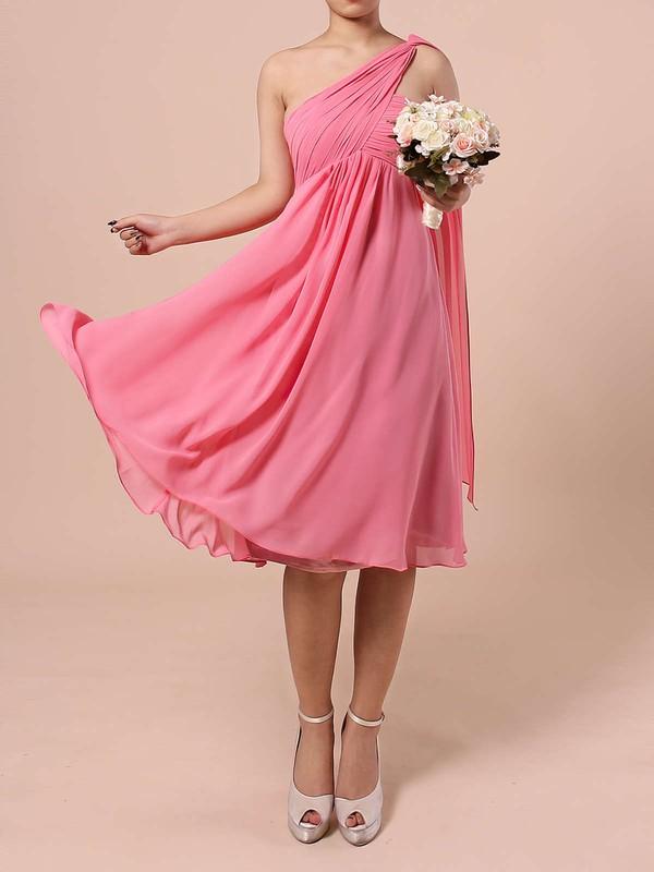 Empire One Shoulder Knee-length Chiffon Ruffles Bridesmaid Dresses #PDS01013527
