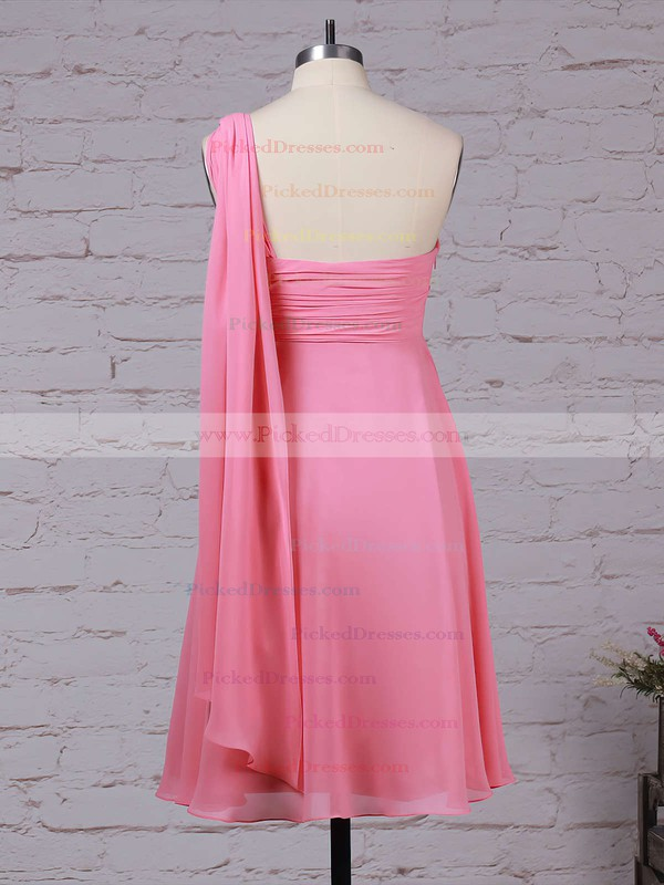 Empire One Shoulder Knee-length Chiffon Ruffles Bridesmaid Dresses #PDS01013527