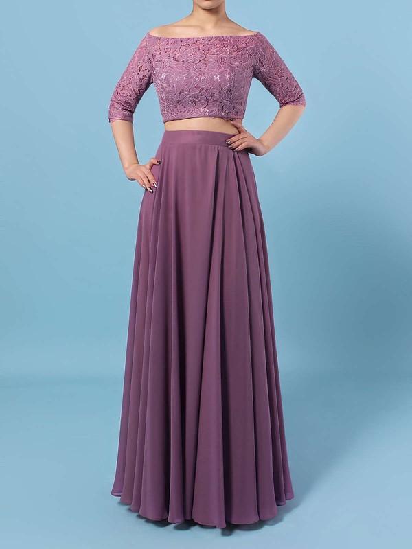 A-line Off-the-shoulder Floor-length Lace Chiffon Bridesmaid Dresses #PDS01013529