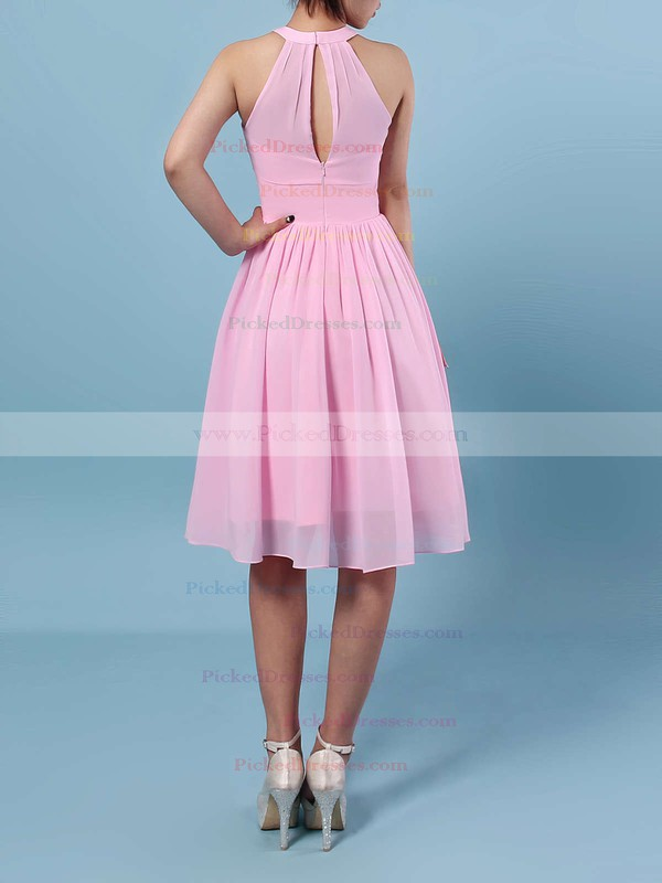 A-line Scoop Neck Knee-length Chiffon Ruffles Bridesmaid Dresses #PDS01013530