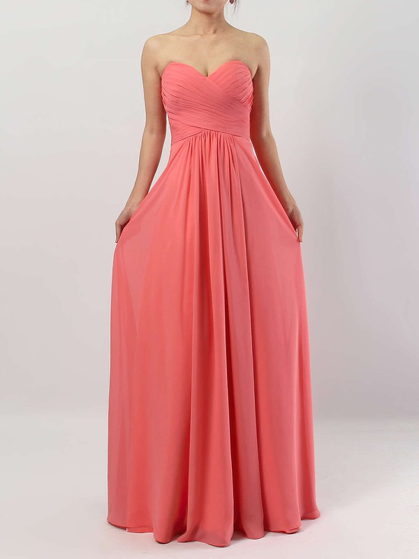 Empire Sweetheart Floor-length Chiffon Ruffles Bridesmaid Dresses #PDS01013531