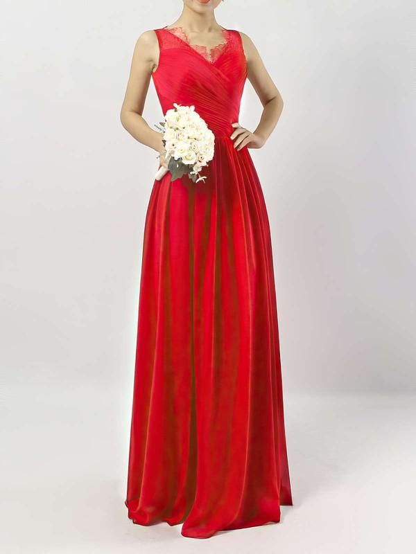 A-line V-neck Ankle-length Chiffon Lace Bridesmaid Dresses #PDS01013532