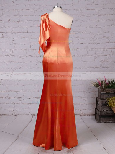 Sheath/Column One Shoulder Floor-length Silk-like Satin Ruffles Bridesmaid Dresses #PDS01013534