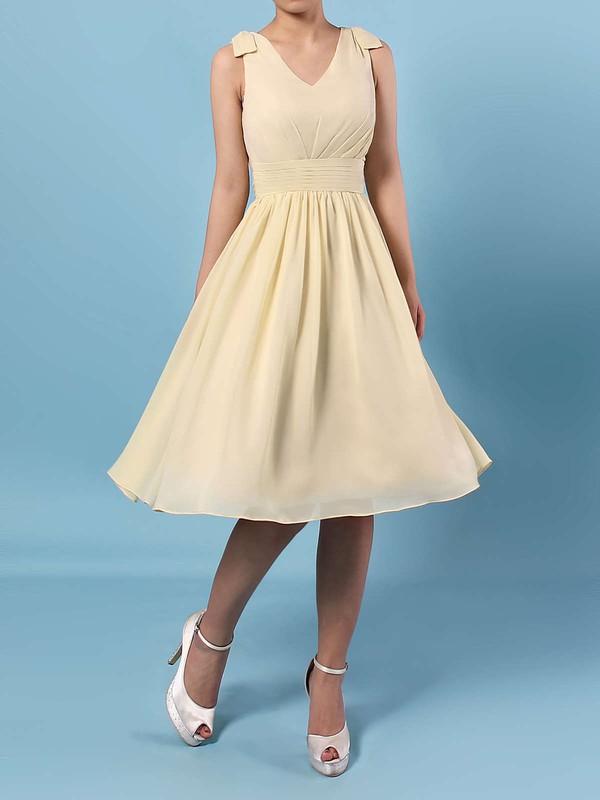 A-line V-neck Knee-length Chiffon Sashes / Ribbons Bridesmaid Dresses #PDS01013536