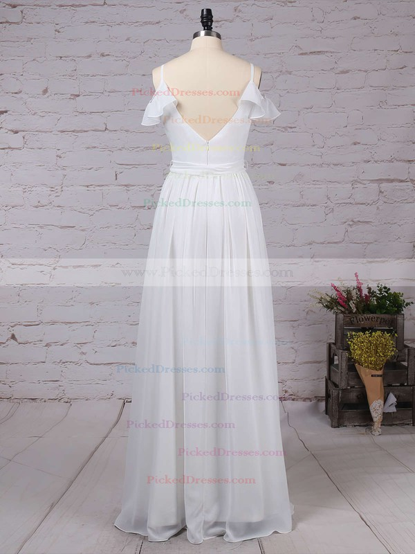A-line V-neck Floor-length Chiffon Sashes / Ribbons Bridesmaid Dresses #PDS01013537