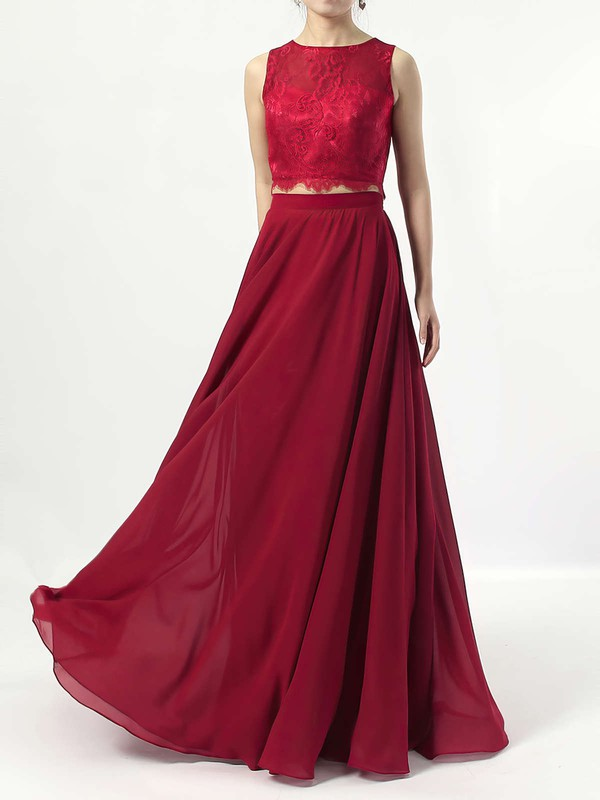 A-line Scoop Neck Lace Chiffon Floor-length Bridesmaid Dresses #PDS01013541